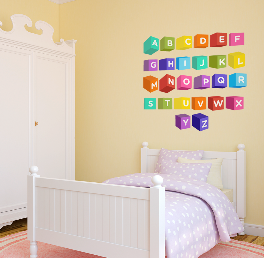 Alphabet Block Letters Printed Wall Decal Vinyl Home Decor Art 4 034 ...
