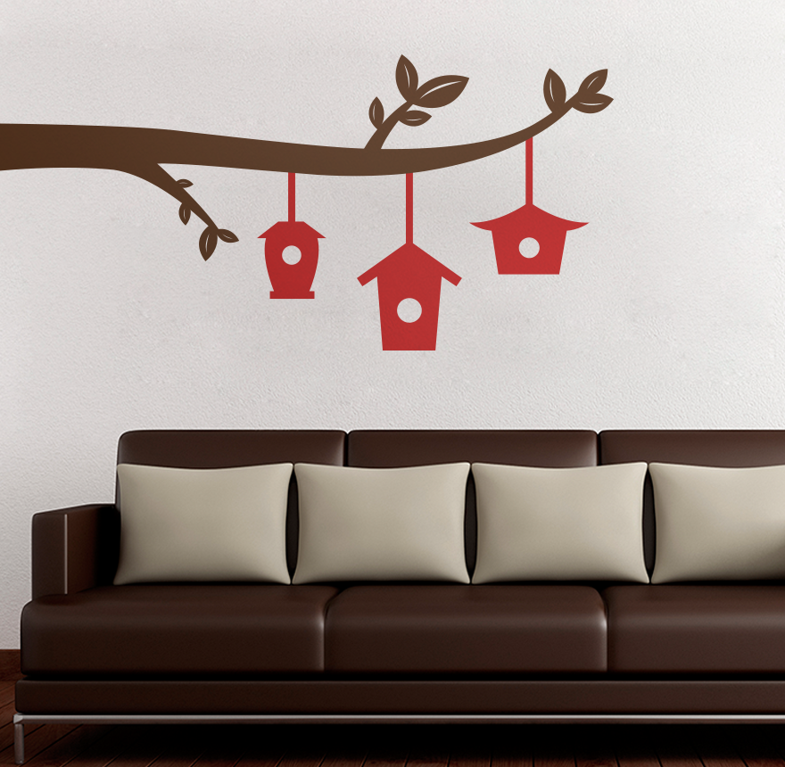 Red Bird Wall Decor : Branch with red bird houses printed wall decal vinyl home